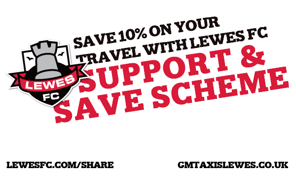 Save 10% on your Lewes Taxi fares with Lewes FC Support and Save